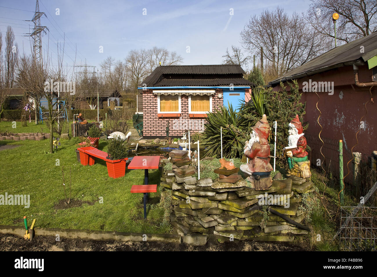 Allotment gardens, Duisburg, Germany. - Stock Image