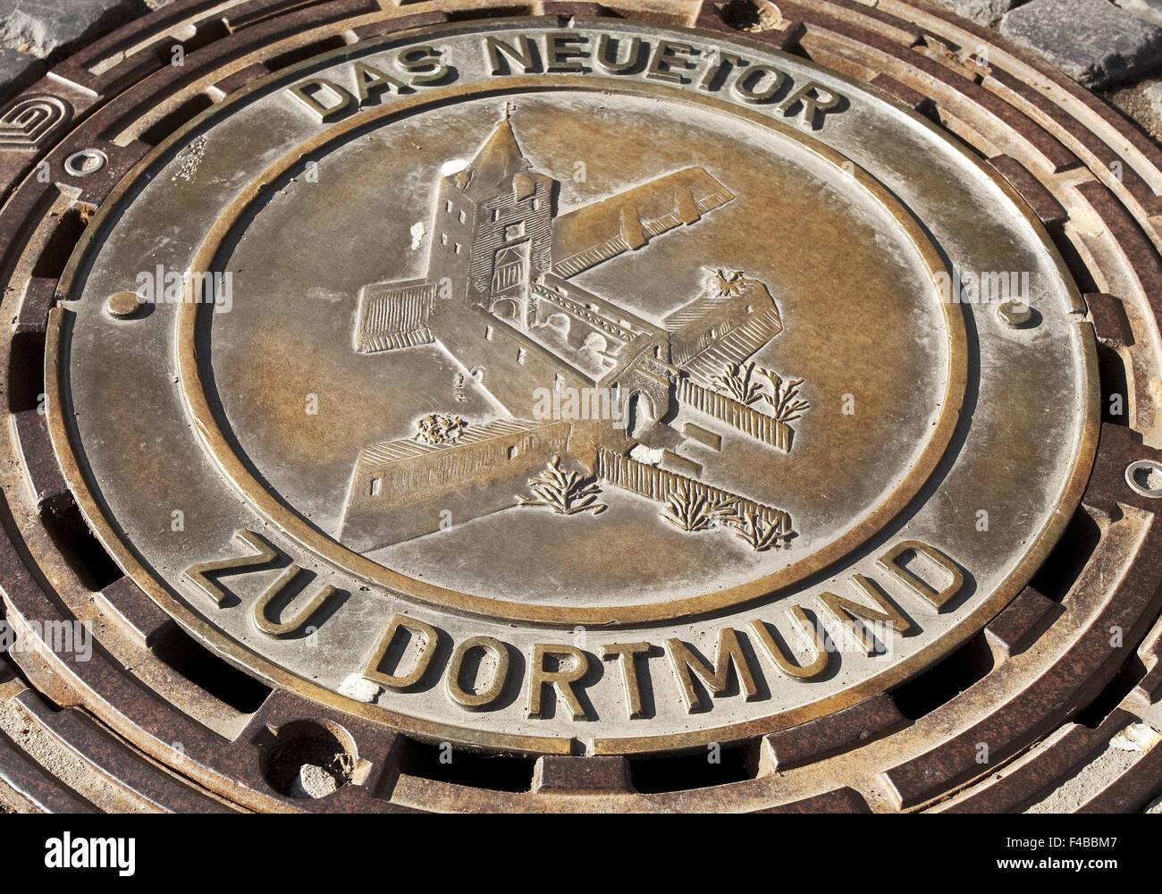 Beautiful manhole covers, Dortmund, Germany. - Stock Image