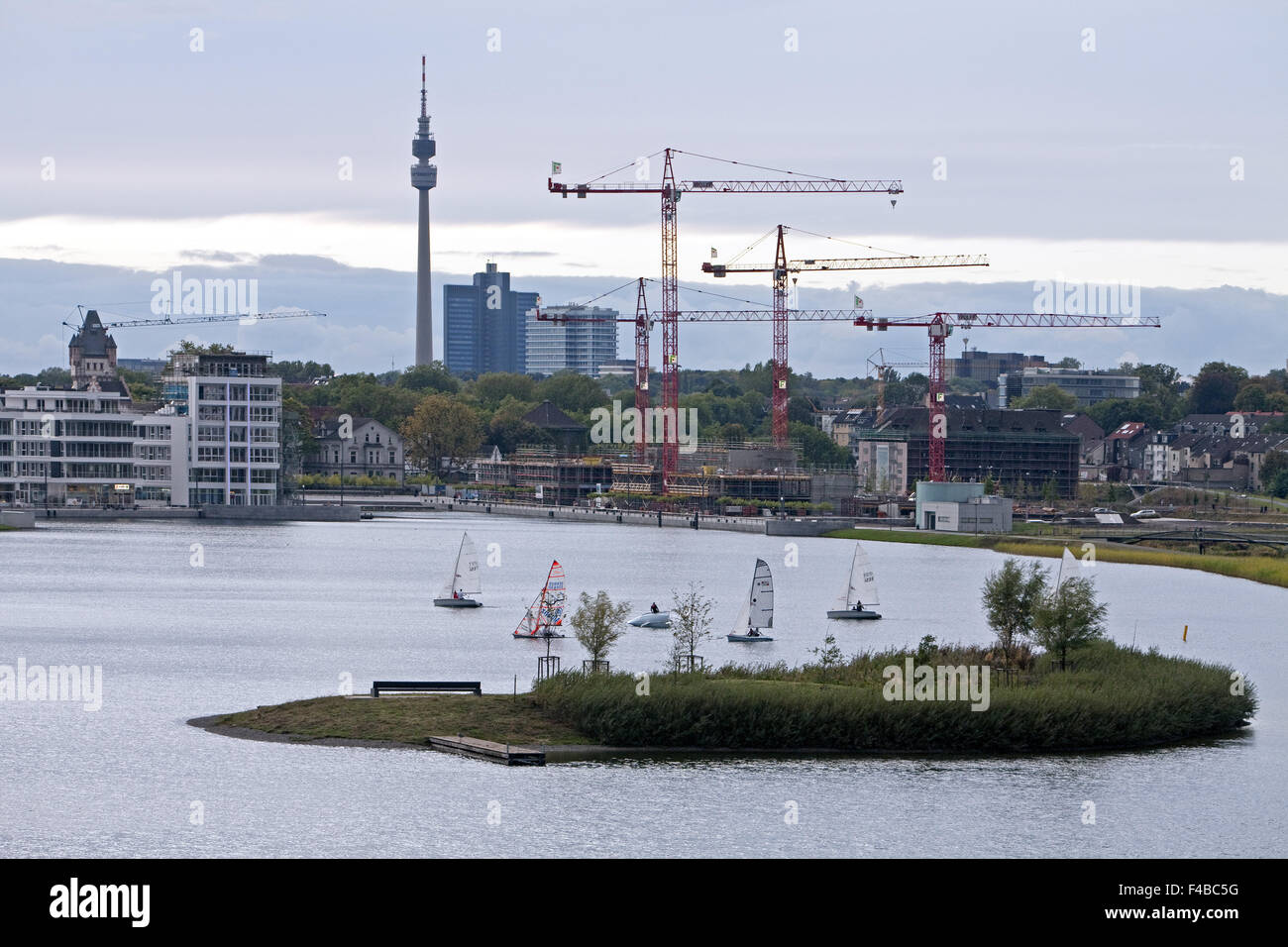 Phoenix Lake with Florian, Dortmund, Germany. - Stock Image
