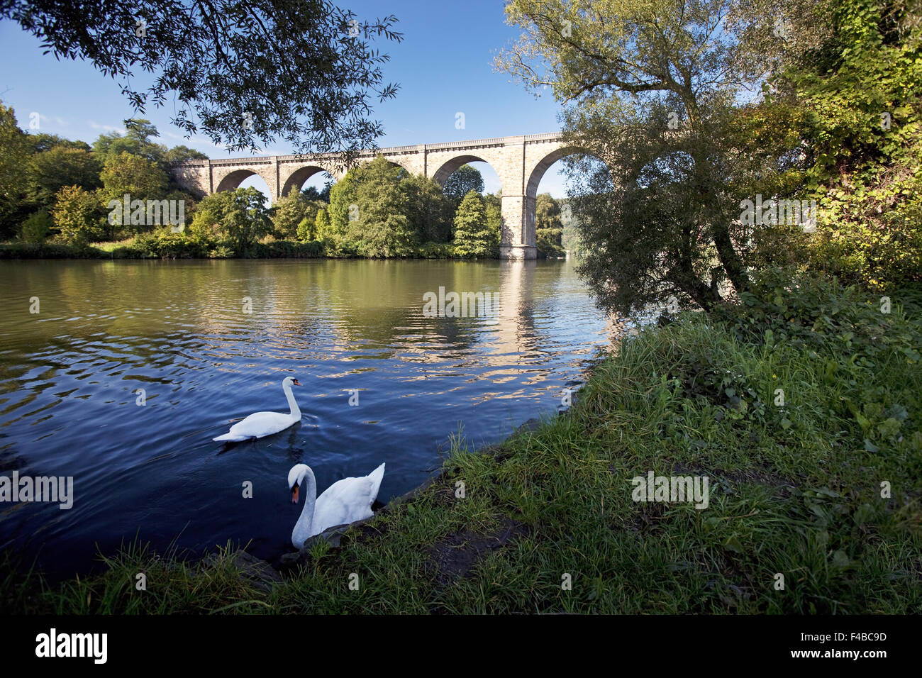 Viaduct, river Ruhr, Herdecke, Germany. - Stock Image