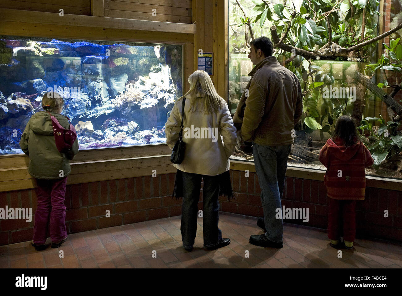 Visitors to the zoo in Bochum, Germany. - Stock Image