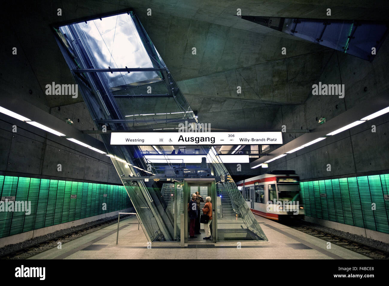 Rathaus Underground Station, Bochum, Germany. - Stock Image