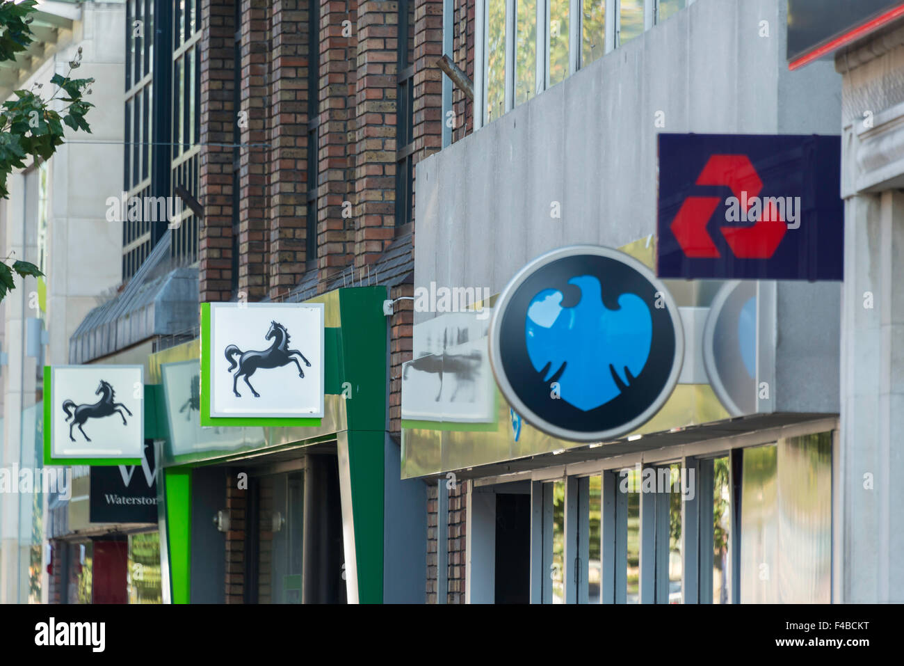 Row of retail banks, High Street, Staines-upon-Thames, Surrey, England, United Kingdom - Stock Image