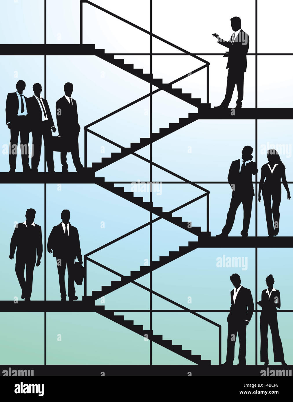 Business people on the stairs Stock Photo