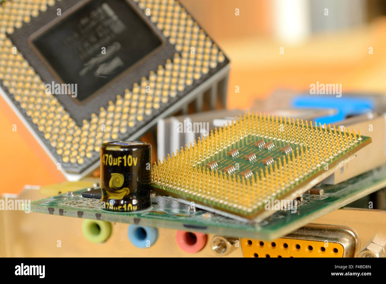 PC processor and plug-in cards - Hardware Stock Photo