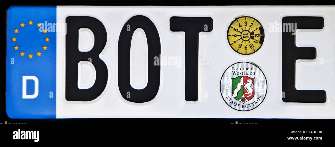 Car license plate BOT E, Bottrop, Germany. - Stock Image