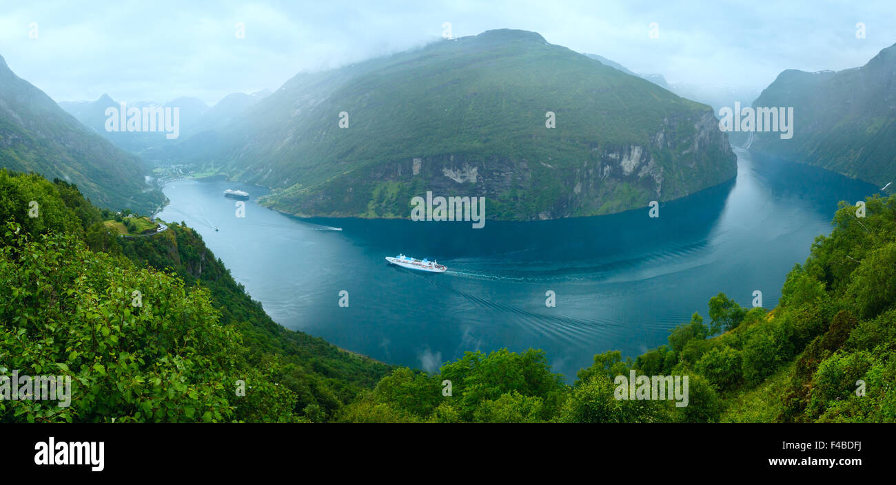 Geiranger Fjord (Norge) summer panorama - Stock Image