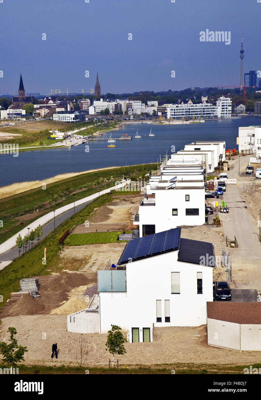 Housing development, Phoenix Lake, Dortmund. - Stock Image
