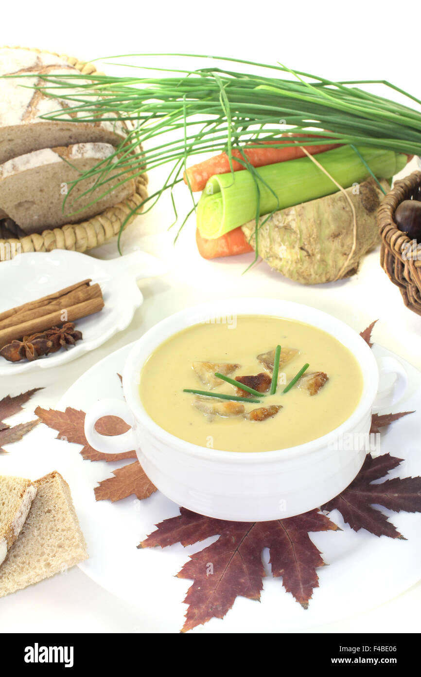 delicious sweet chestnut soup - Stock Image