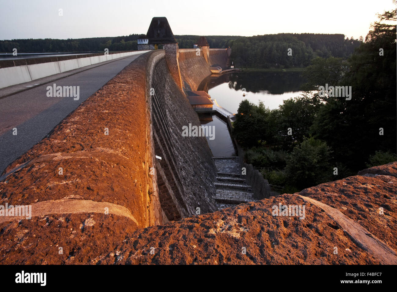 The reservoir Moehnesee with the dam. - Stock Image