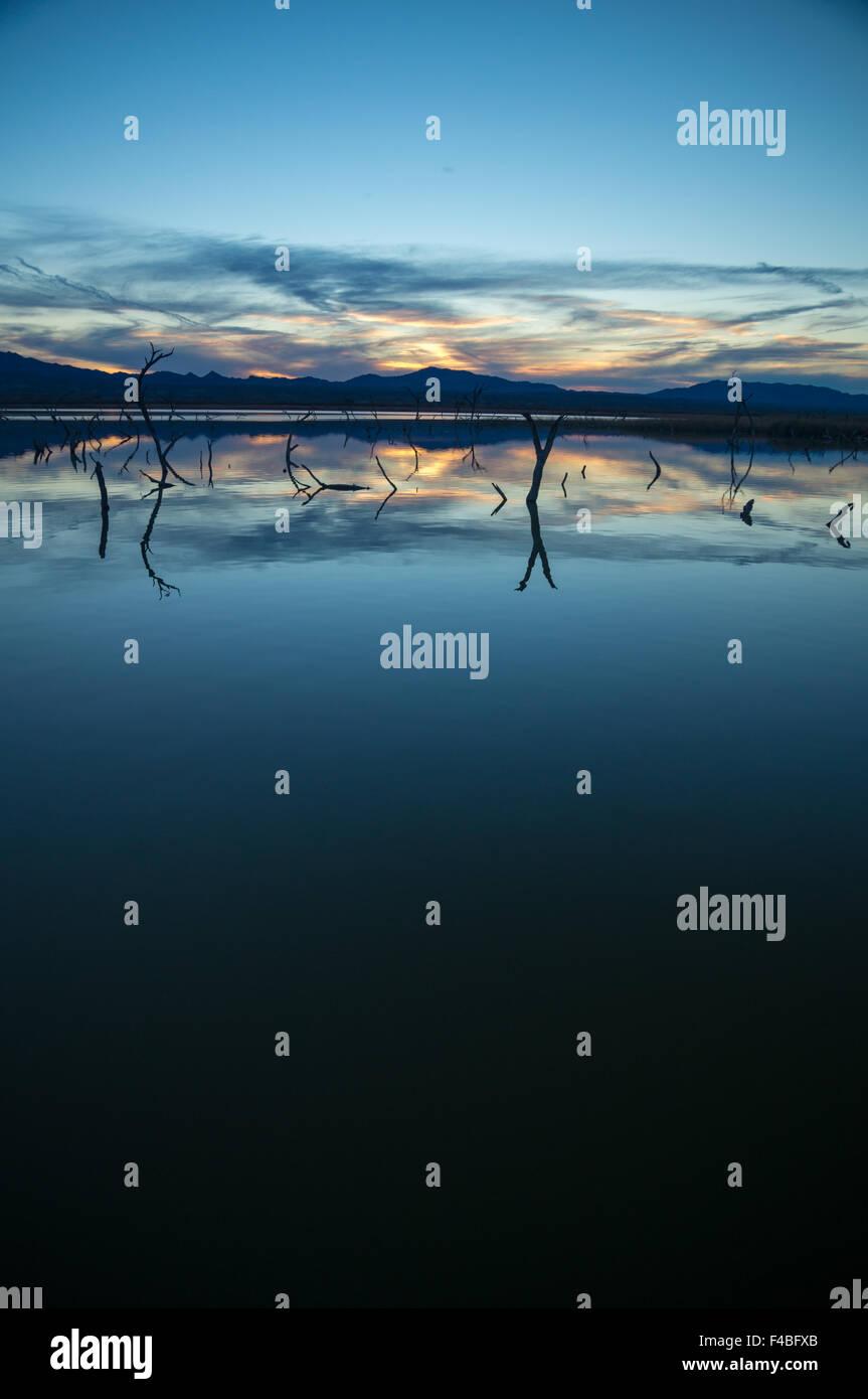 Fading light over a desert lake - Stock Image