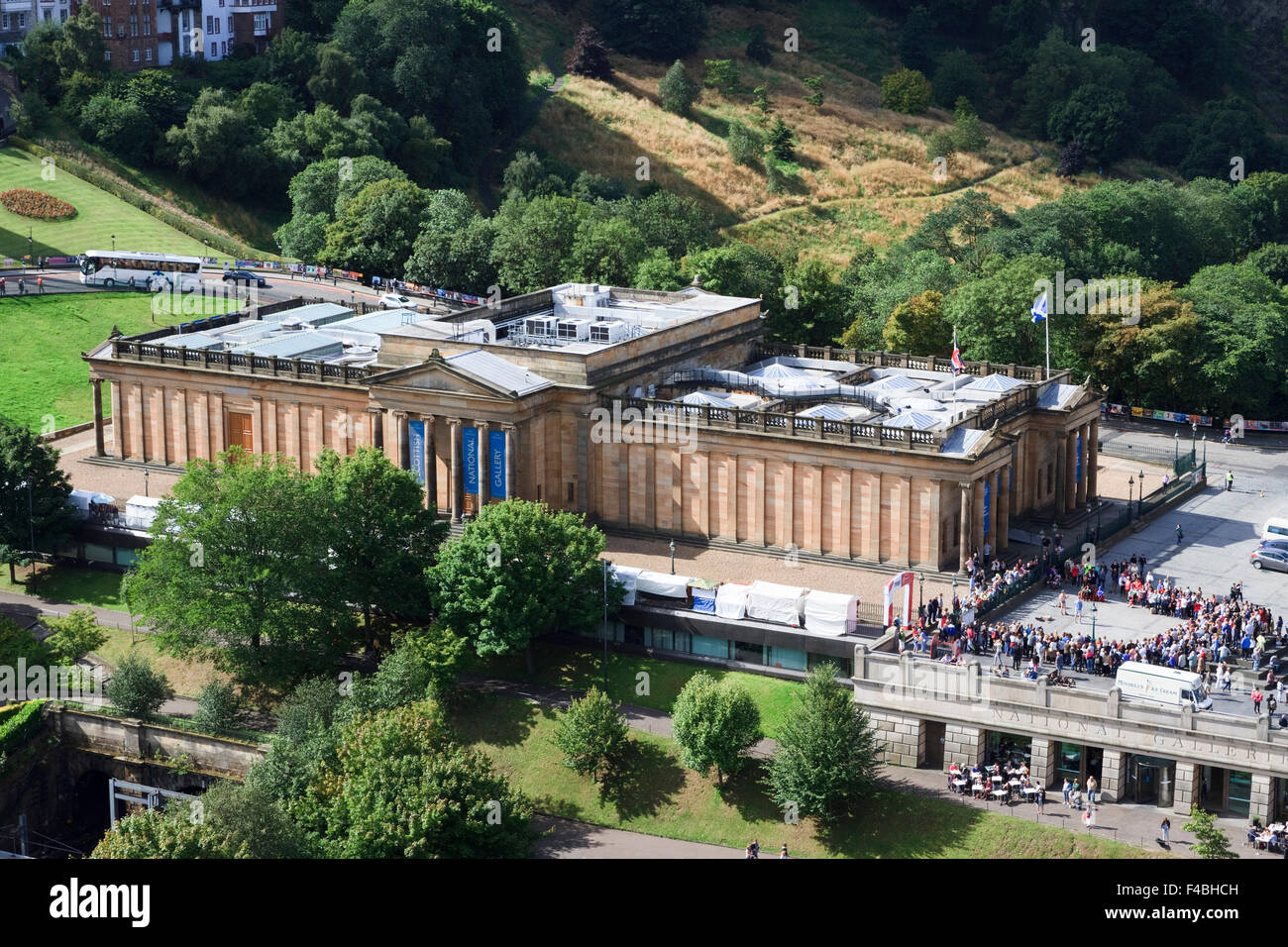 Scottish National Gallery as seen from the Scott Monument. Stock Photo