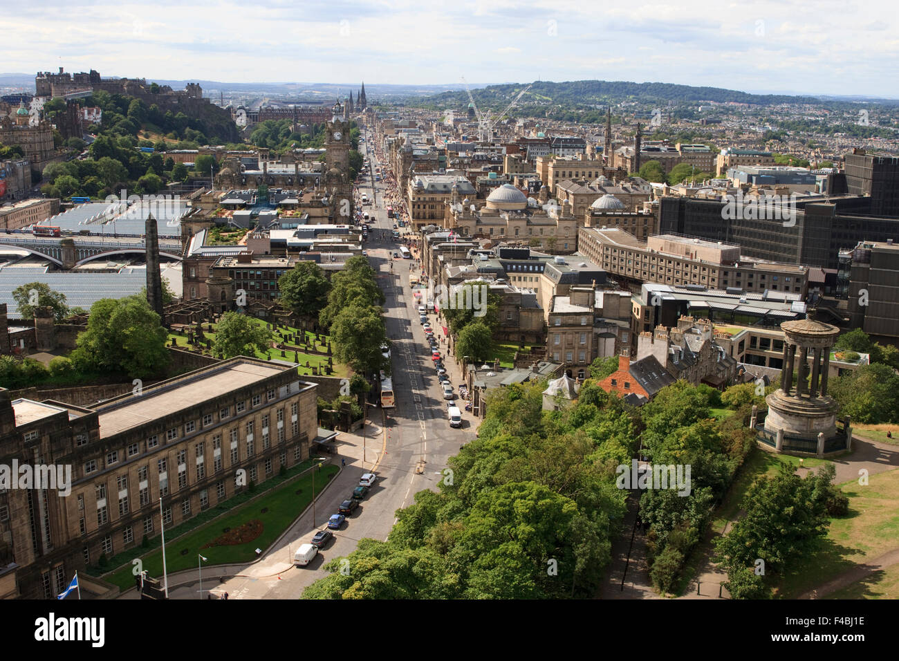 View from the Nelson Monument in Edinburgh, Scotland, looking down Princes Street. Stock Photo
