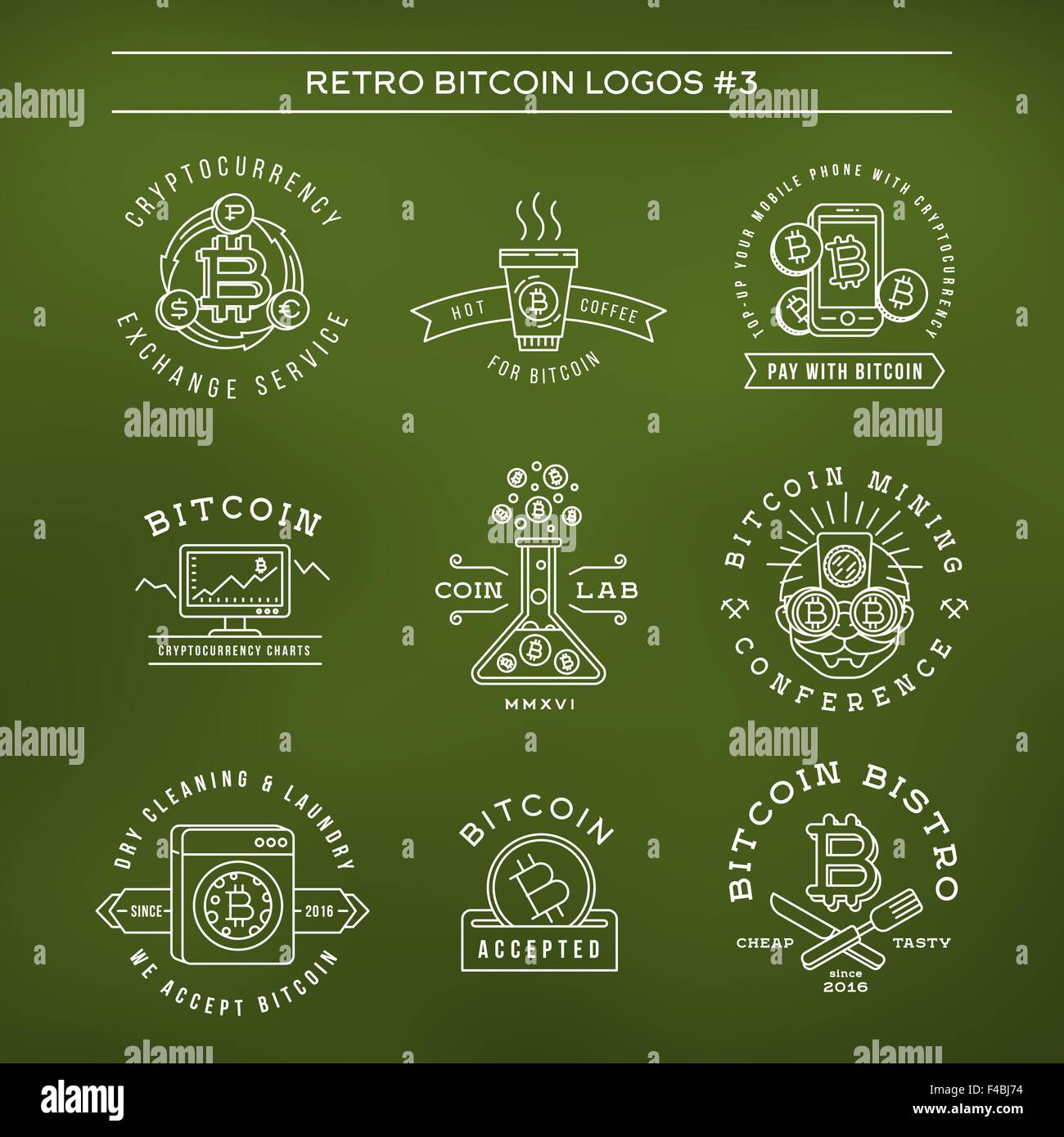 bitcoin logo templates set cryptocurrency badge collection digital
