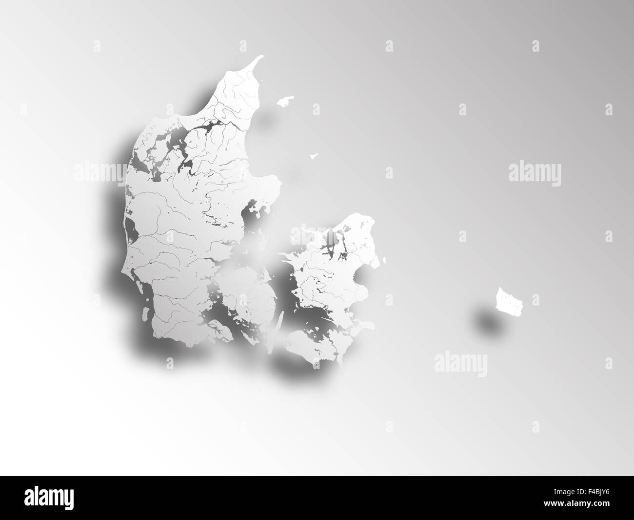 Map of Denmark with paper cut effect. Rivers and lakes are shown. - Stock Image