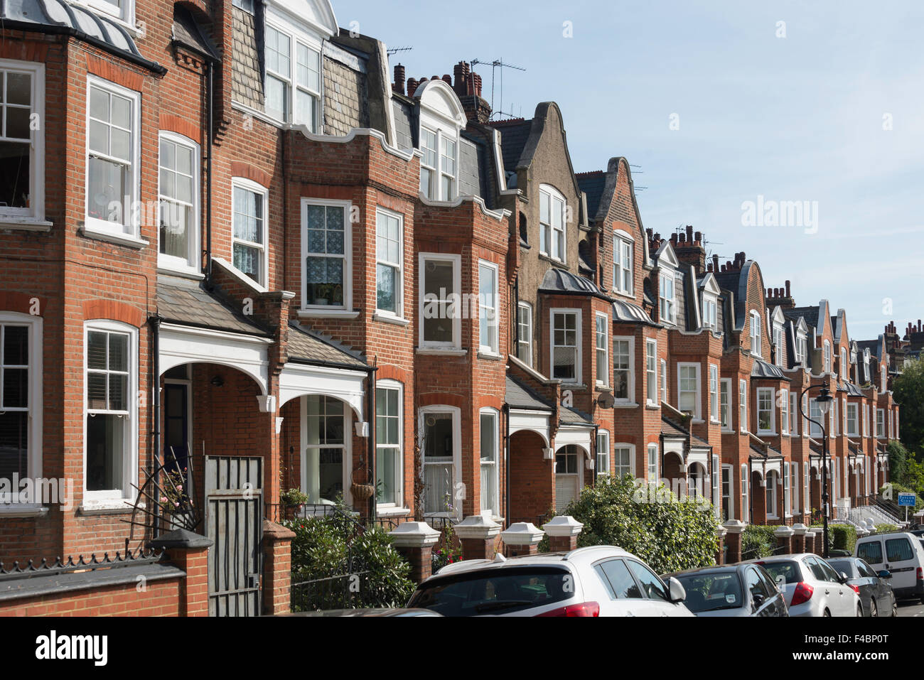 Terraced houses, Hillside Gardens, Highgate, London Borough of Haringey, Greater London, England, United Kingdom - Stock Image