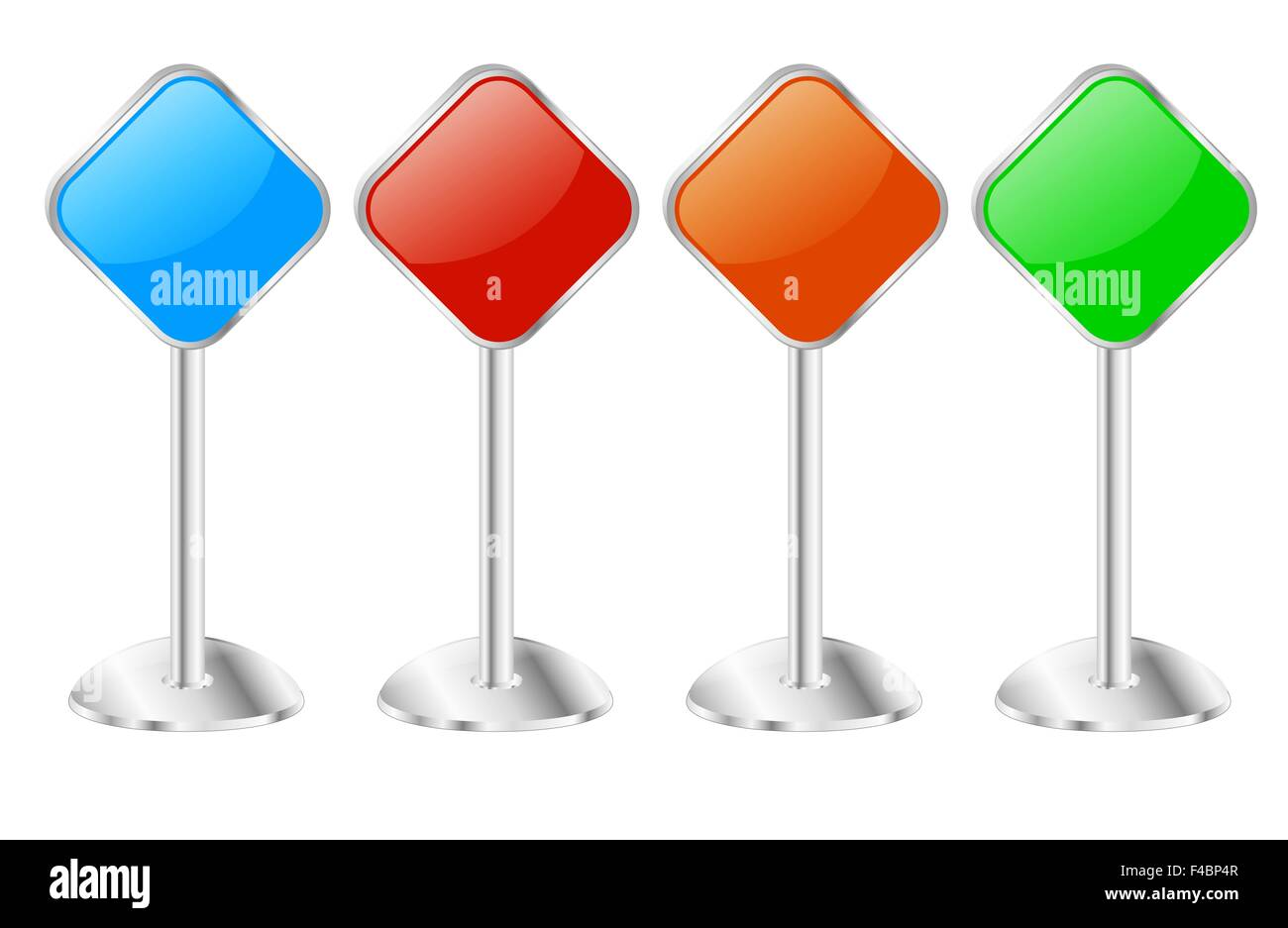 Four Metallic Pedestal Sign Message Boards - Stock Image