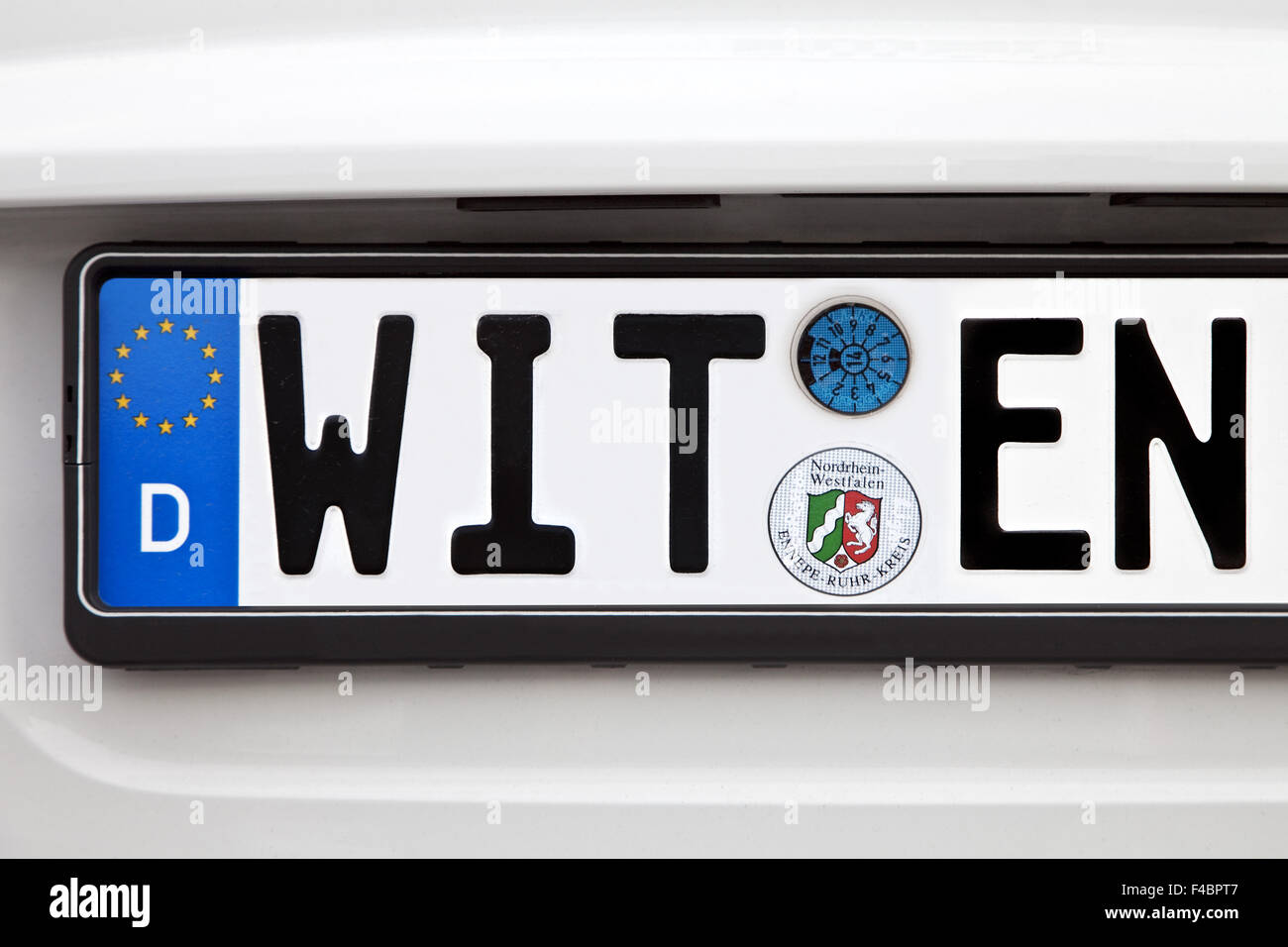 Car license plate WIT EN, Witten, Germany - Stock Image