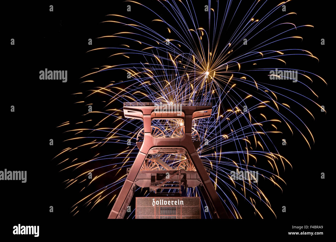 Fireworks, Zollverein, Essen, Germany - Stock Image