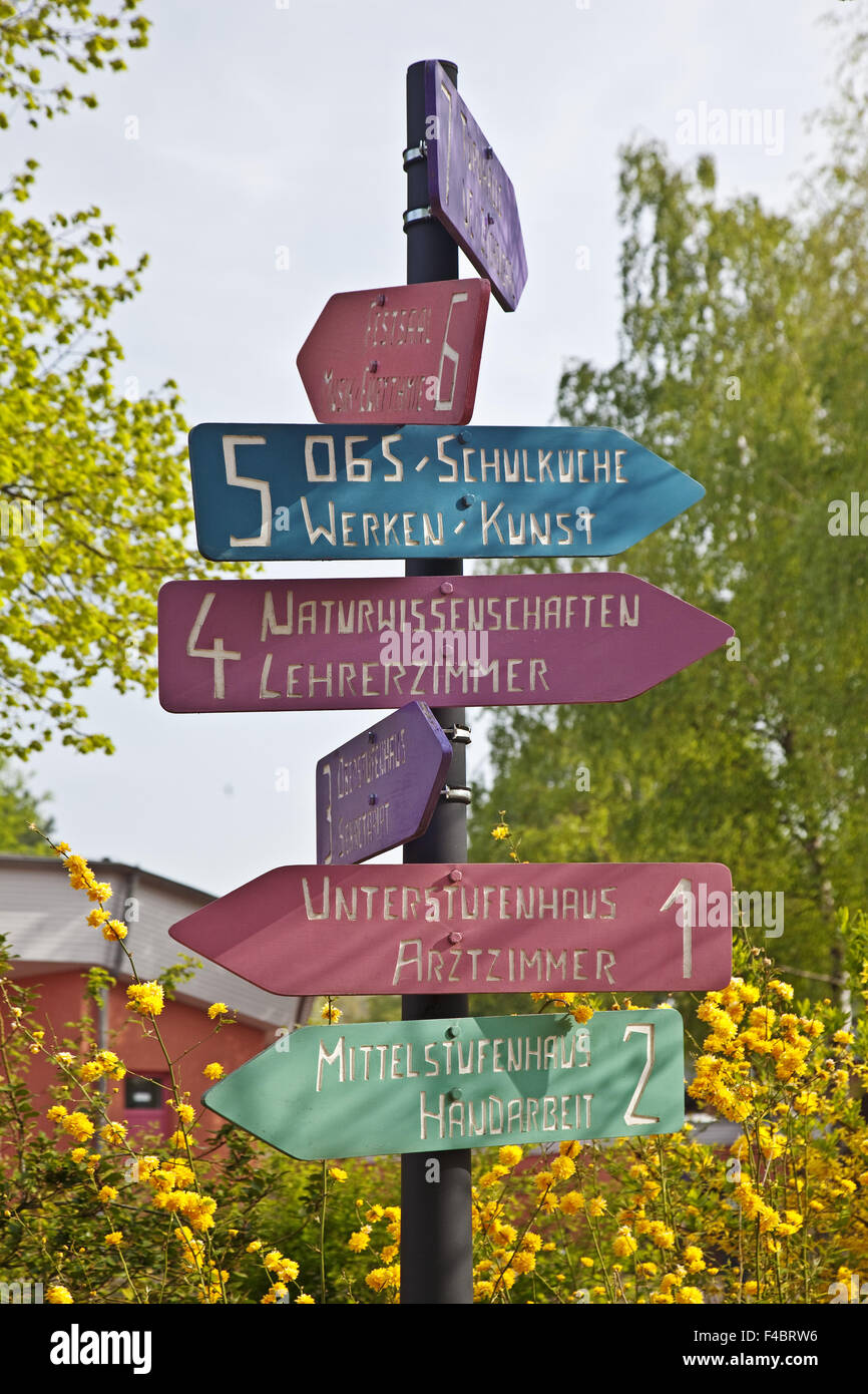 Signs at a Waldorf school, Witten, Germany - Stock Image