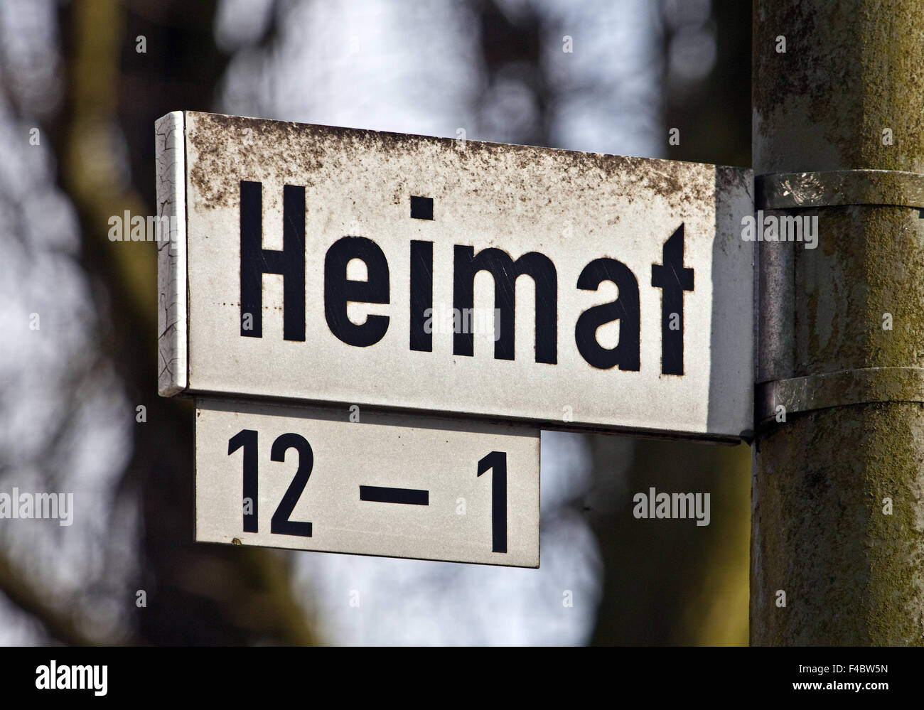 Road sign home, Gelsenkirchen, Germany - Stock Image