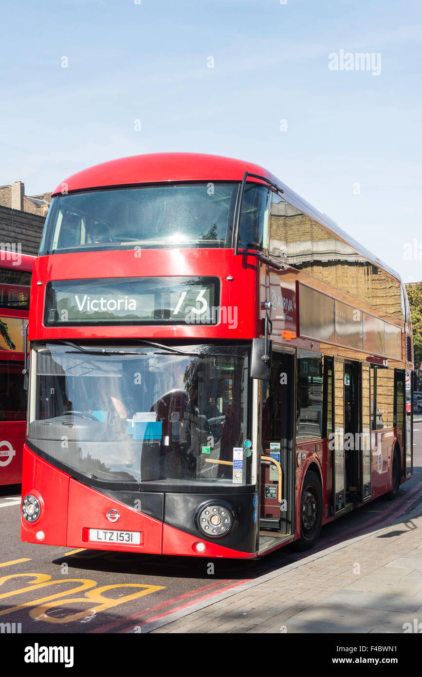 New Routemaster double-decker bus, High Street, Islington, London Borough of Islington, London, England, United - Stock Image