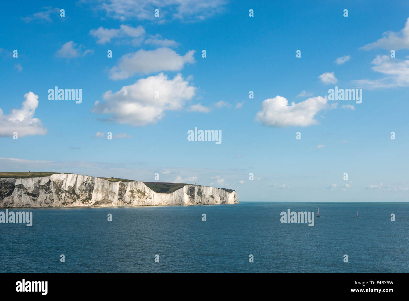 The White cliffs of Dover on the South coast of the UK - Stock Image