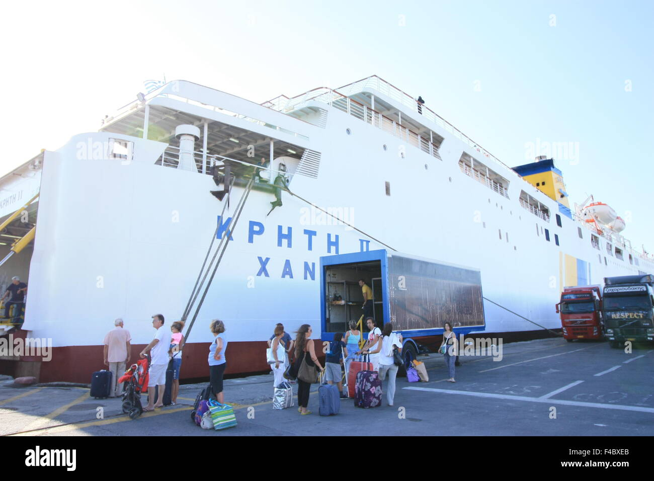 Passengers of the ferry going to Athens - Stock Image