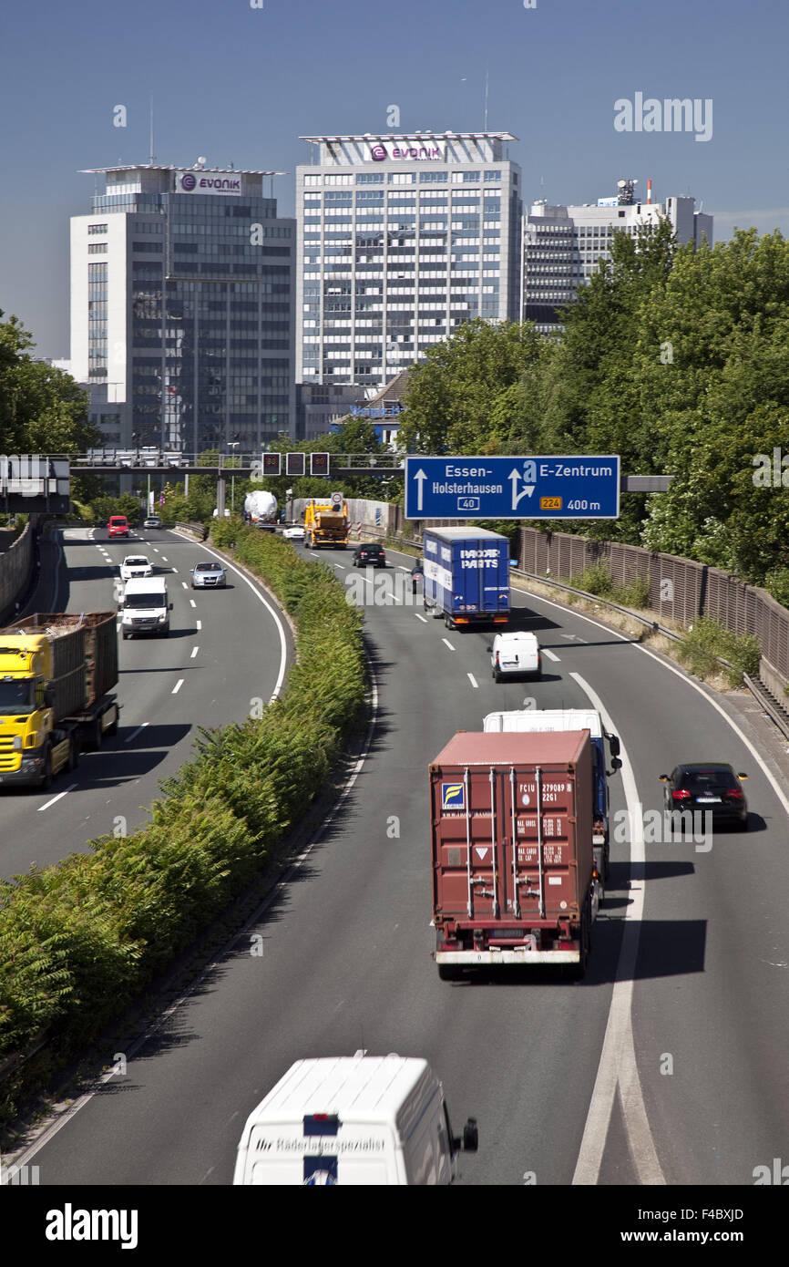 Traffic on the A 40 motorway, Essen, Germ - Stock Image