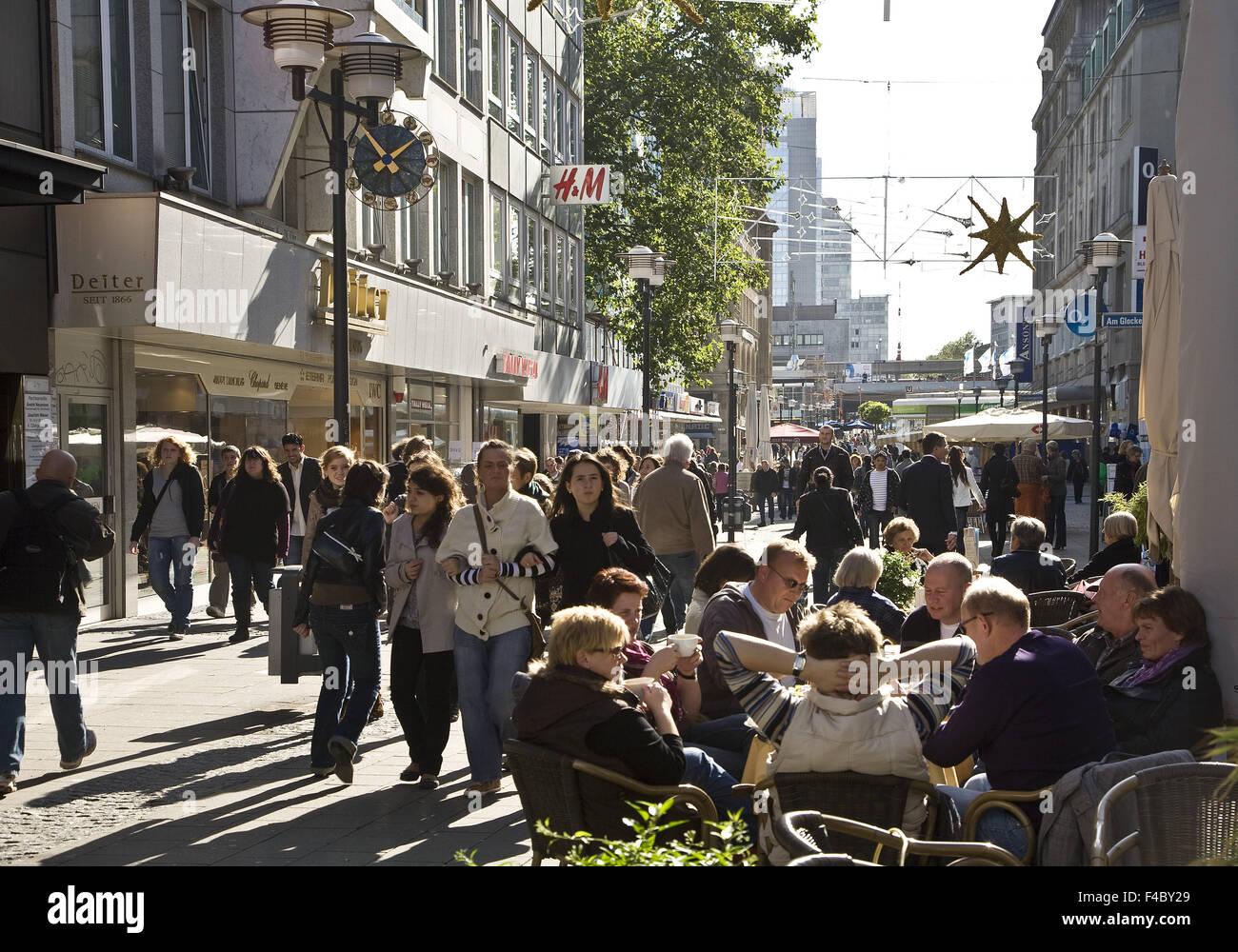 People in a pedestrian zone, Essen, Germany - Stock Image