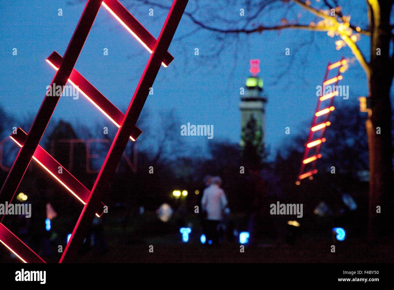 Parking lights, Grugapark, Essen, Germany - Stock Image