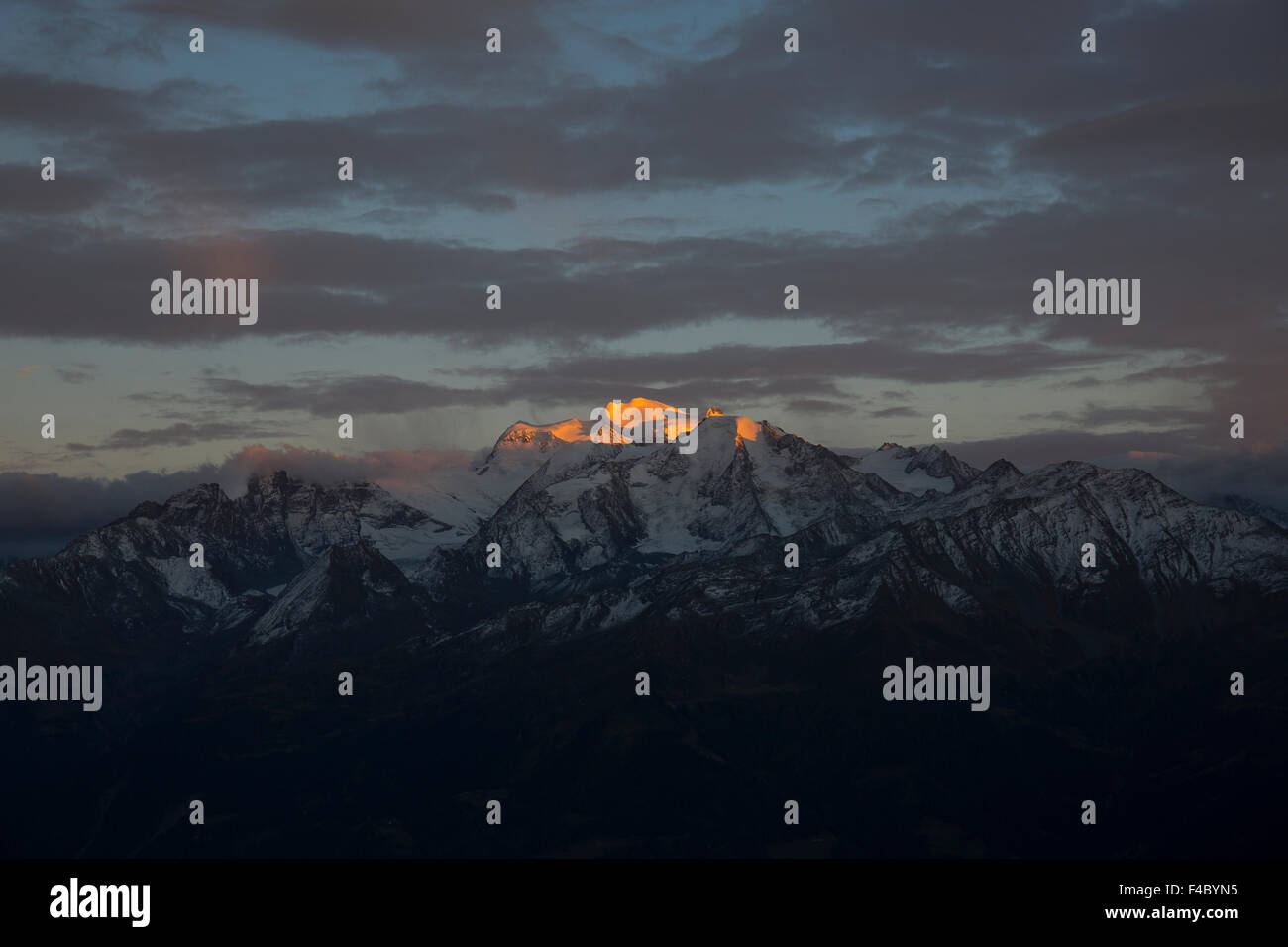 Sunset on the Grand Combin - Stock Image