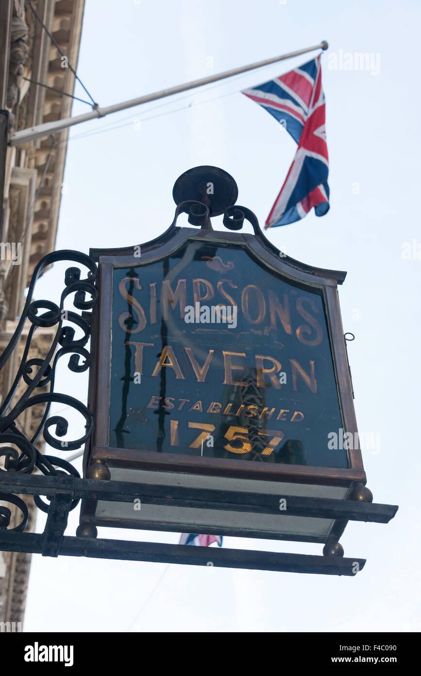 18th century Simpson's Tavern sign, Upper Brook Street, City of London, London, England, United Kingdom - Stock Image