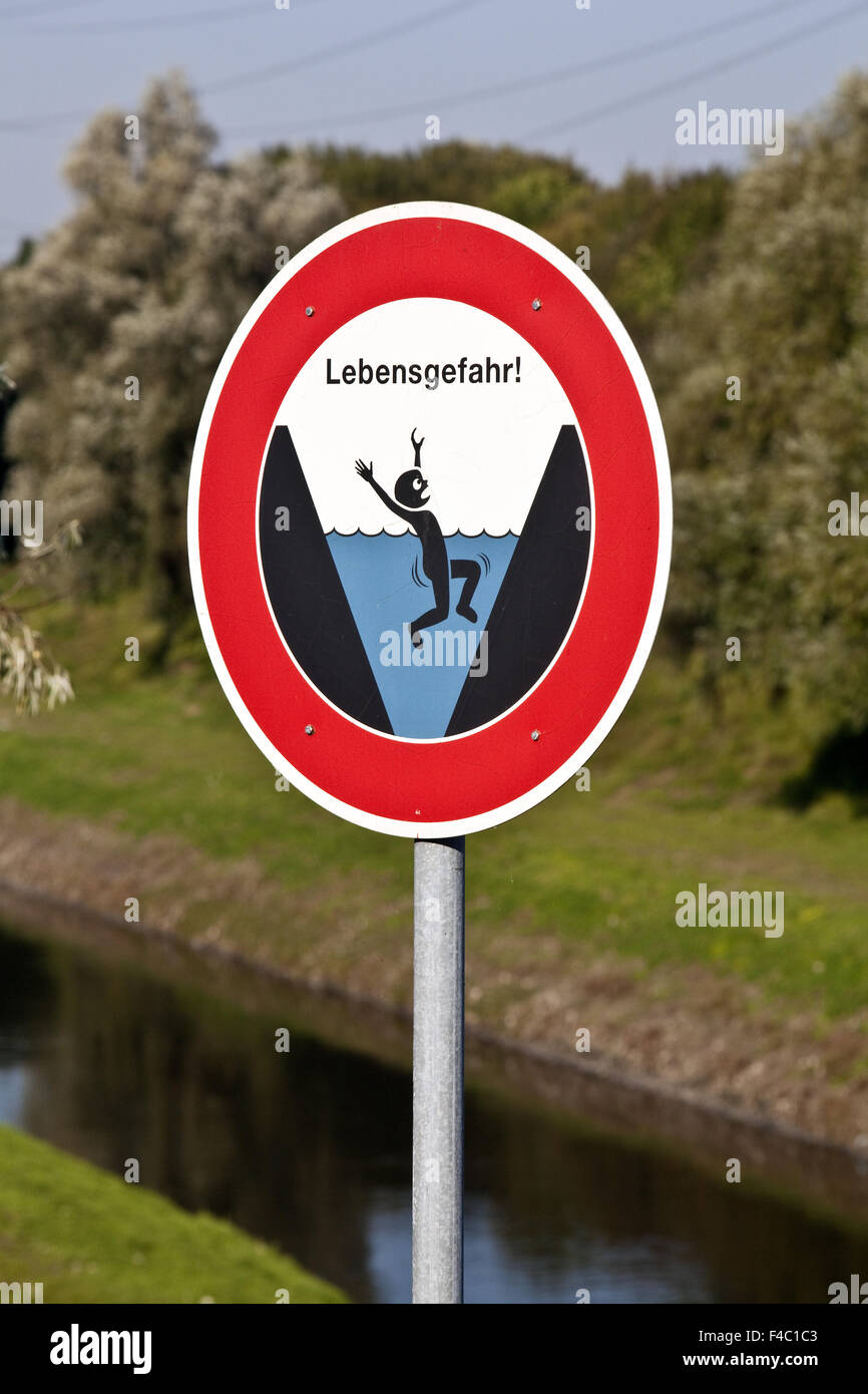 Warning Danger to life, Oberhausen, Germany - Stock Image