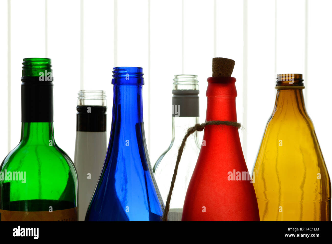 colorful glass bottles Stock Photo