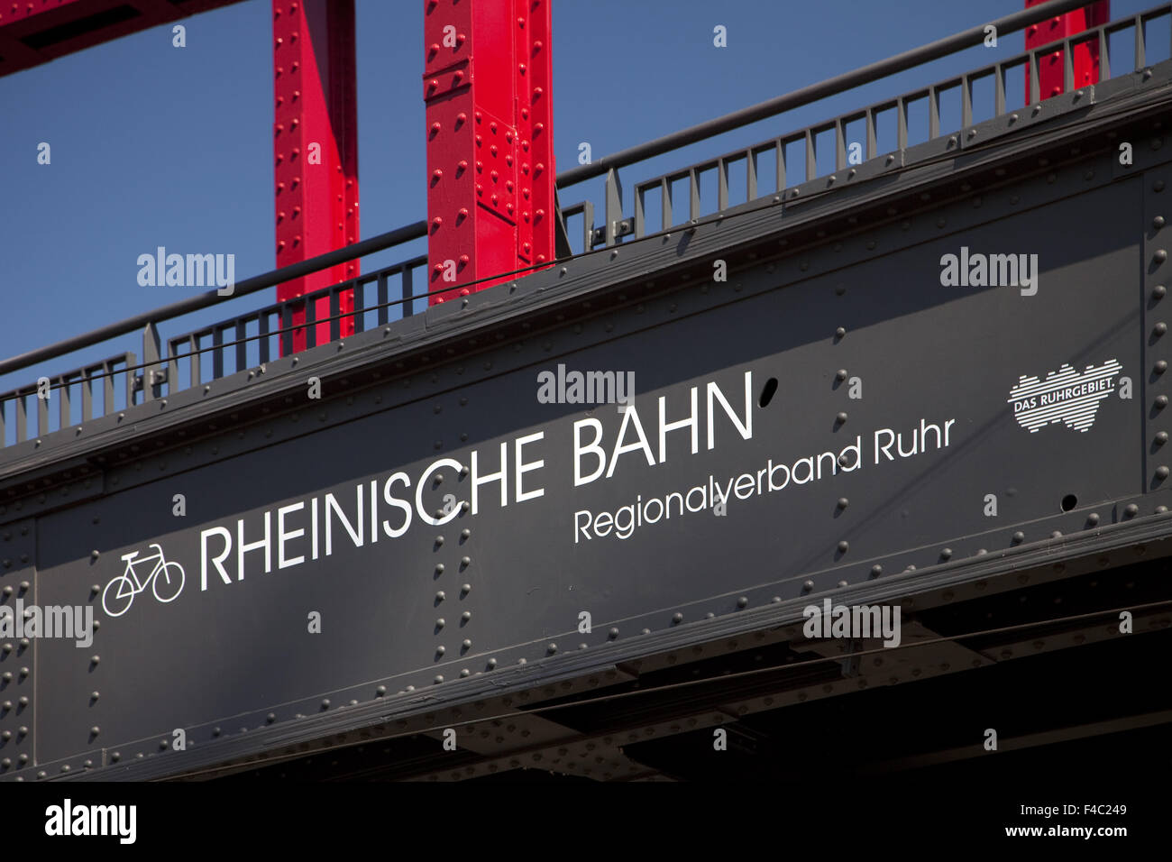 Rhenish railway bridge, Food,, Germany - Stock Image