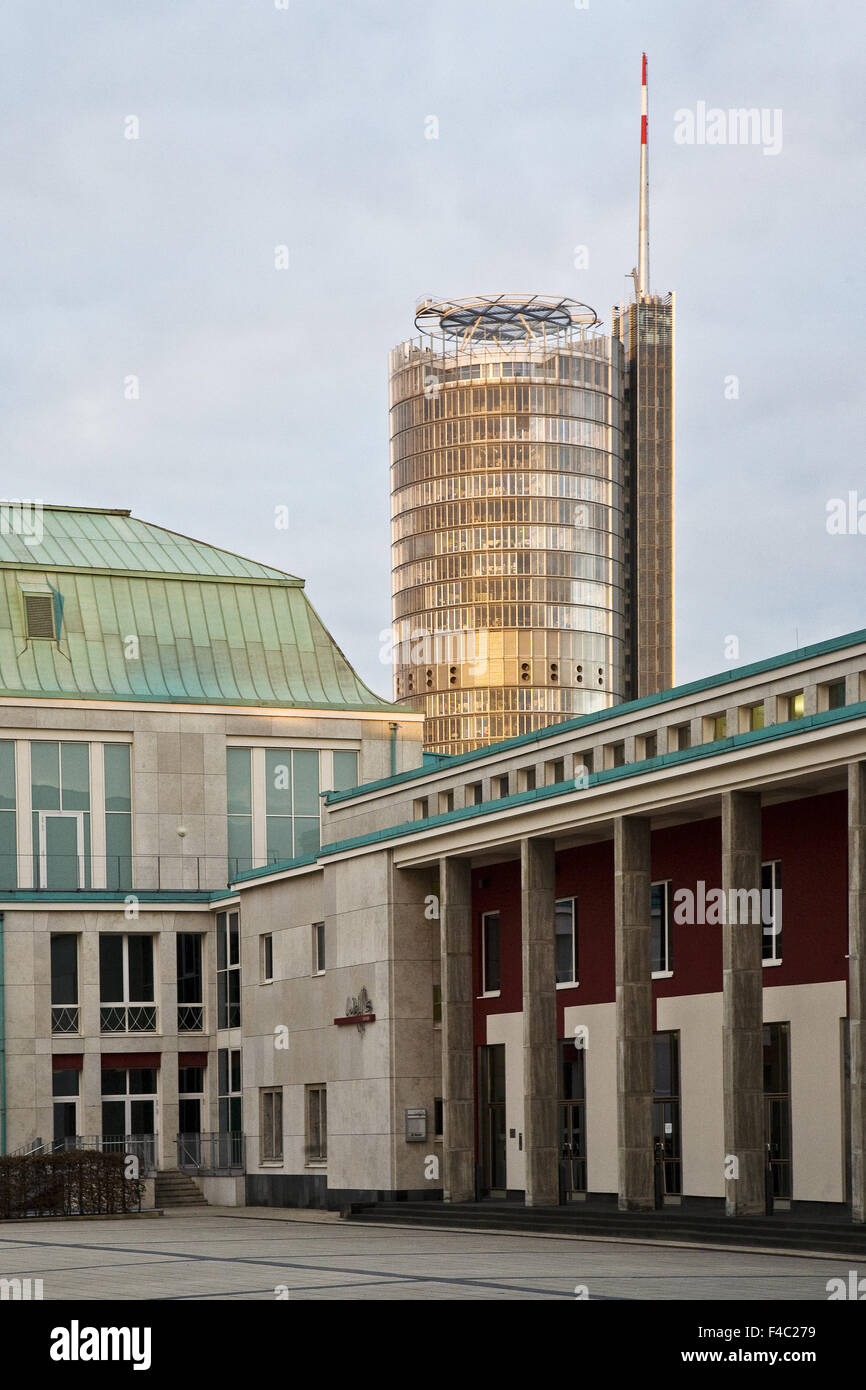 Hall building and RWE Tower, Essen, Germany - Stock Image