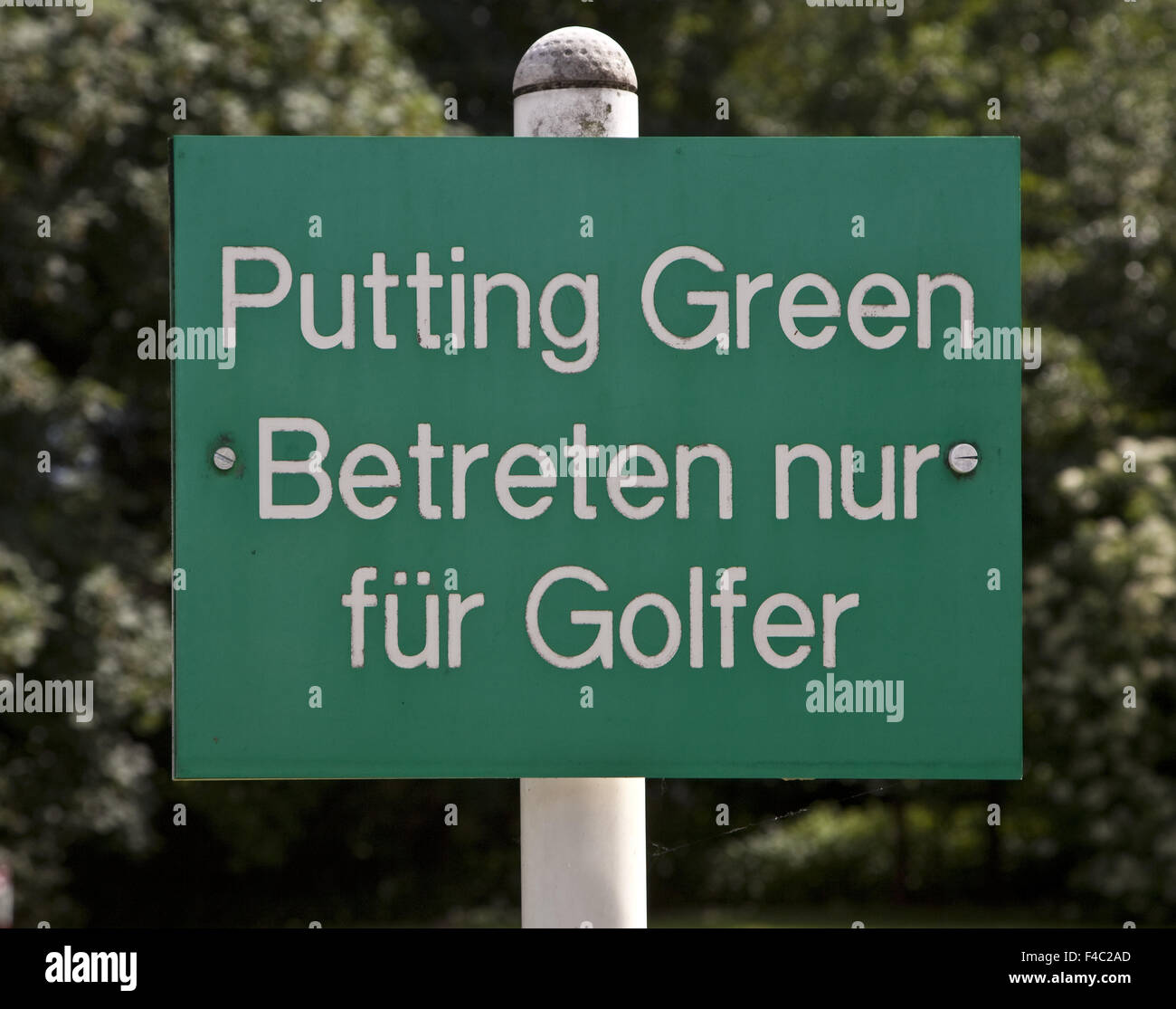 Sign Putting Green, Germany - Stock Image