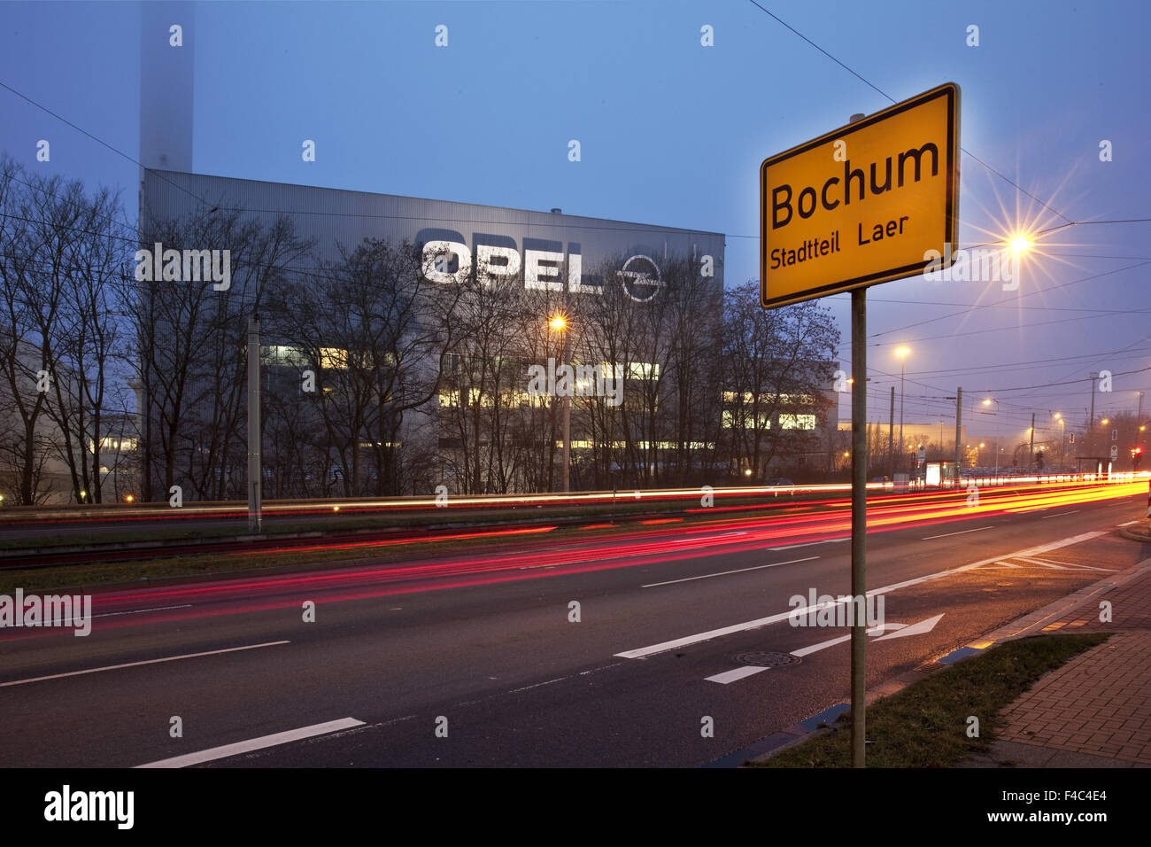 Opel factory with town sign, Bochum, Germany Stock Photo