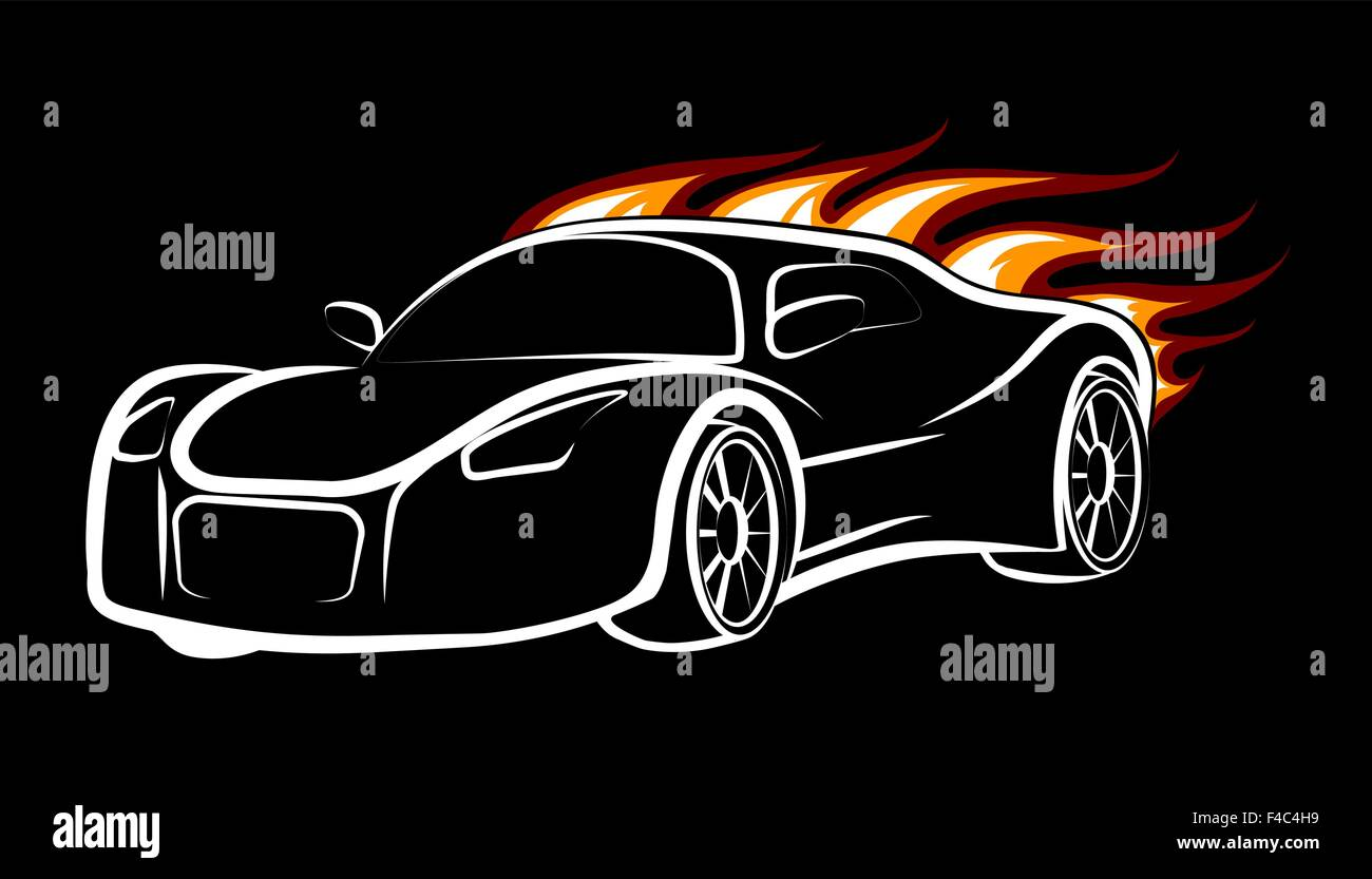 Modern Sport Car Emblem Burning Car Isolated On Black Stock Vector