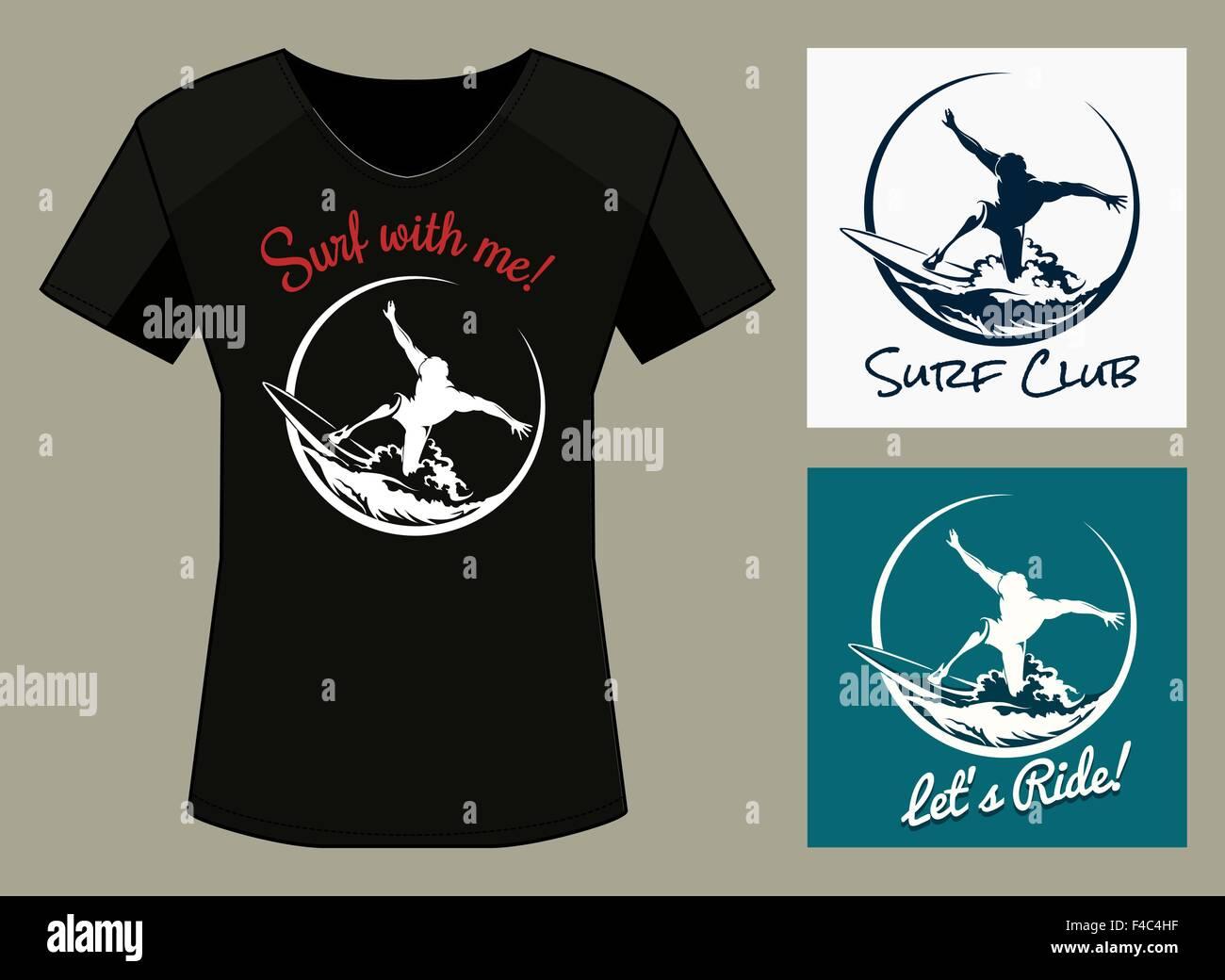 T Shirt Print In Three Color Variations Surfer Club Print Design