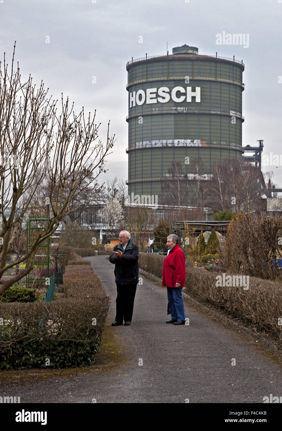 Allotments with Gasometer, Dortmund, Germany Stock Photo