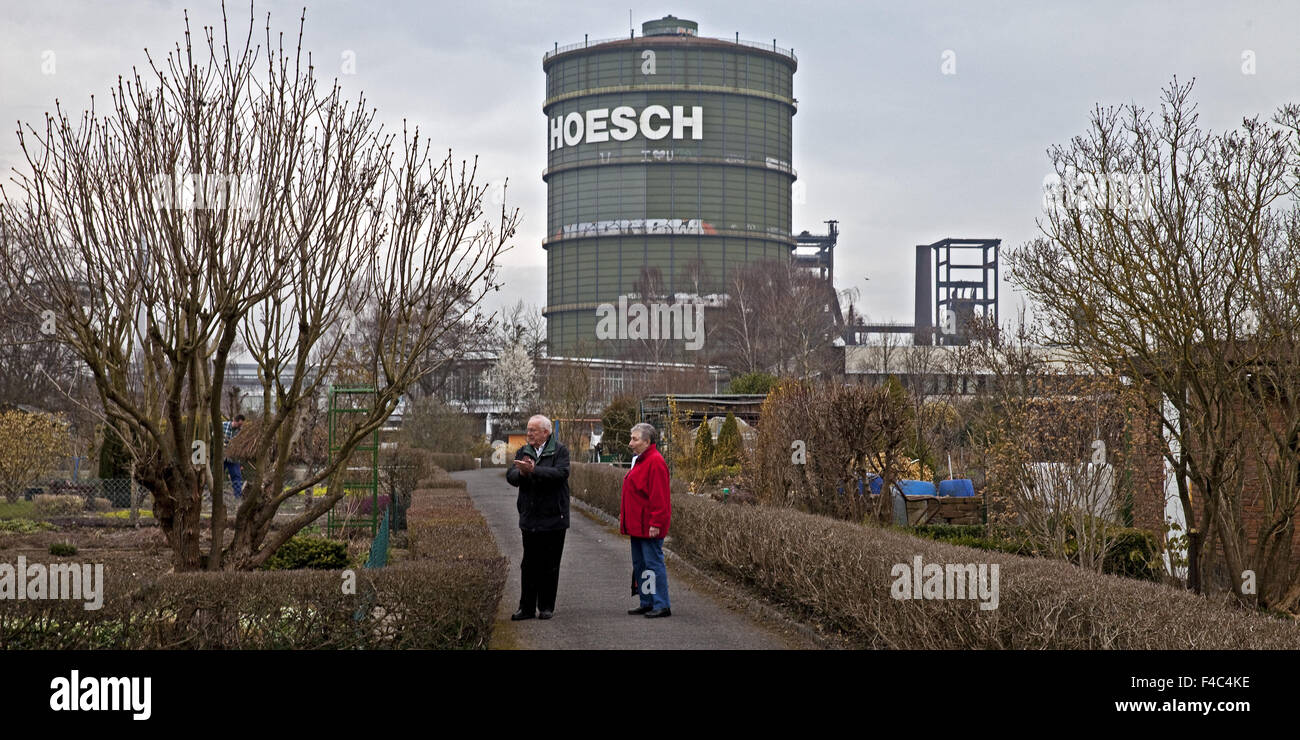 Allotments with Gasometer, Dortmund, Germany - Stock Image