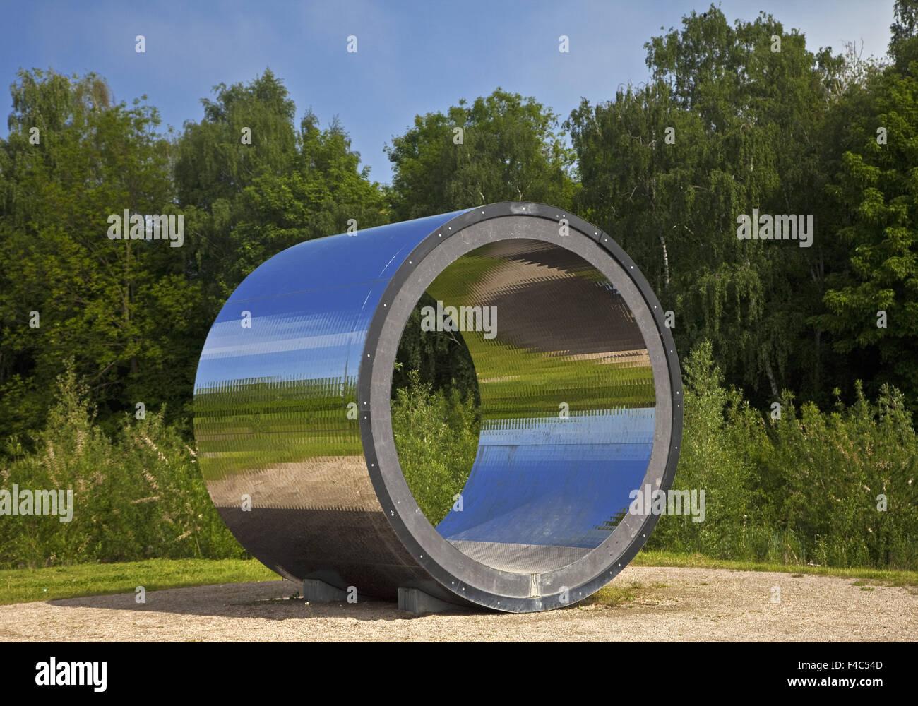 Artwork pixel tube, Kamen, Germany - Stock Image