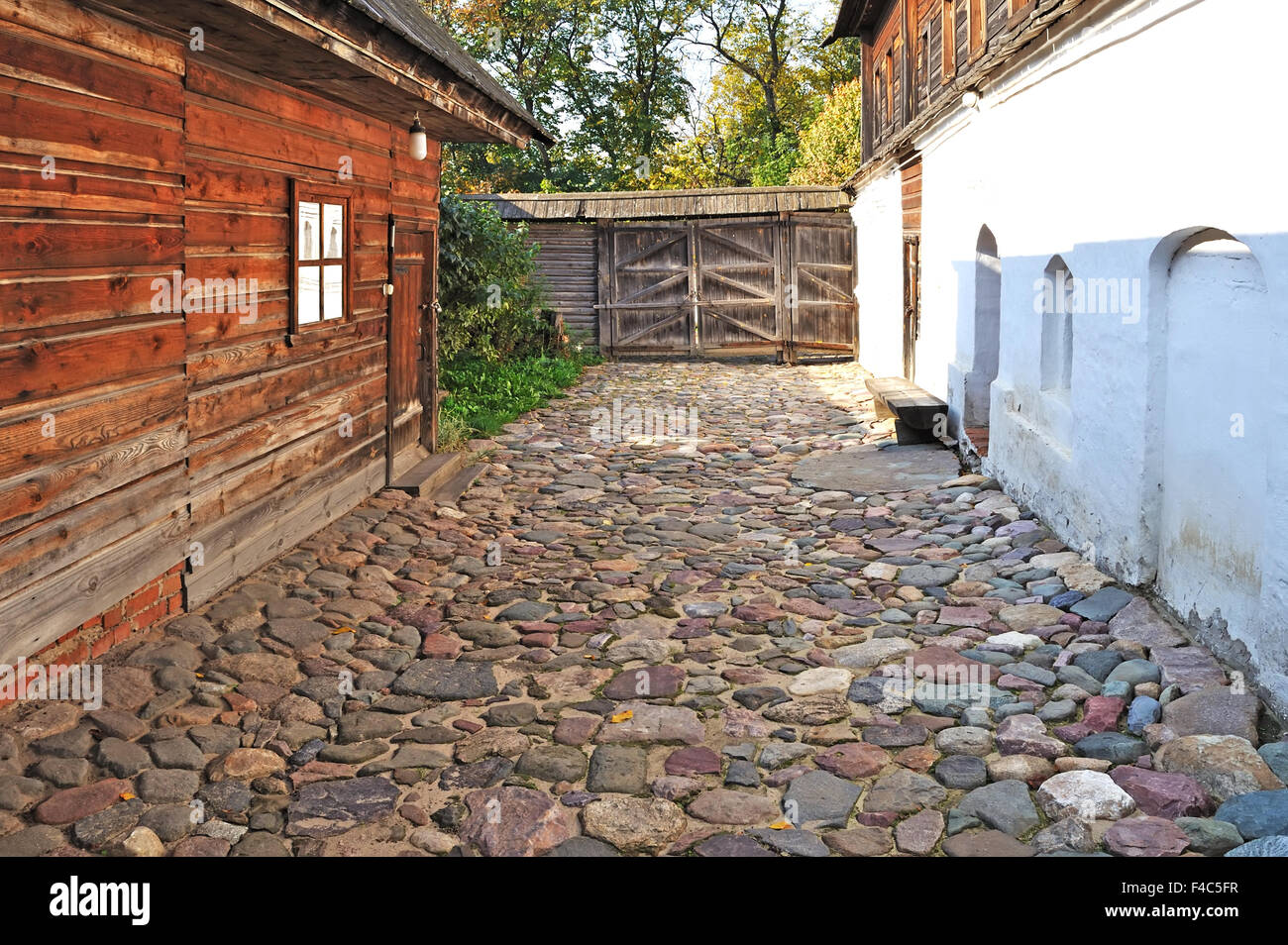 Courtyard of old russian merchant's house - Stock Image