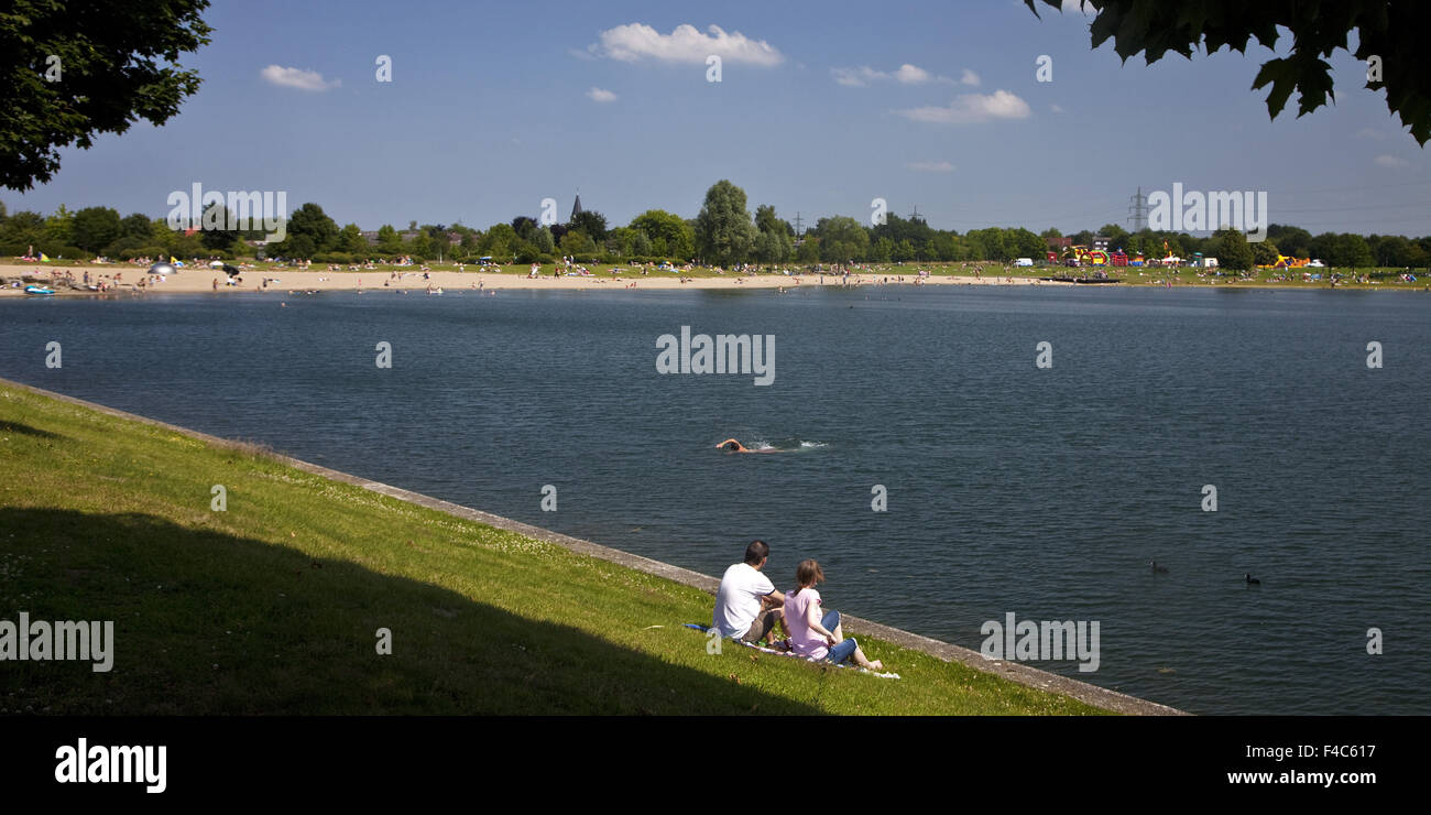 People at Sea Park Luenen, Germany - Stock Image