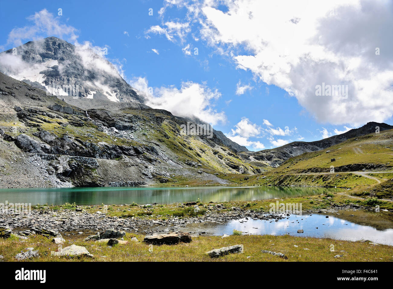 Mountain Lake Lac Marlou, Les Arcs, Bourg, French Alps, France - Stock Image