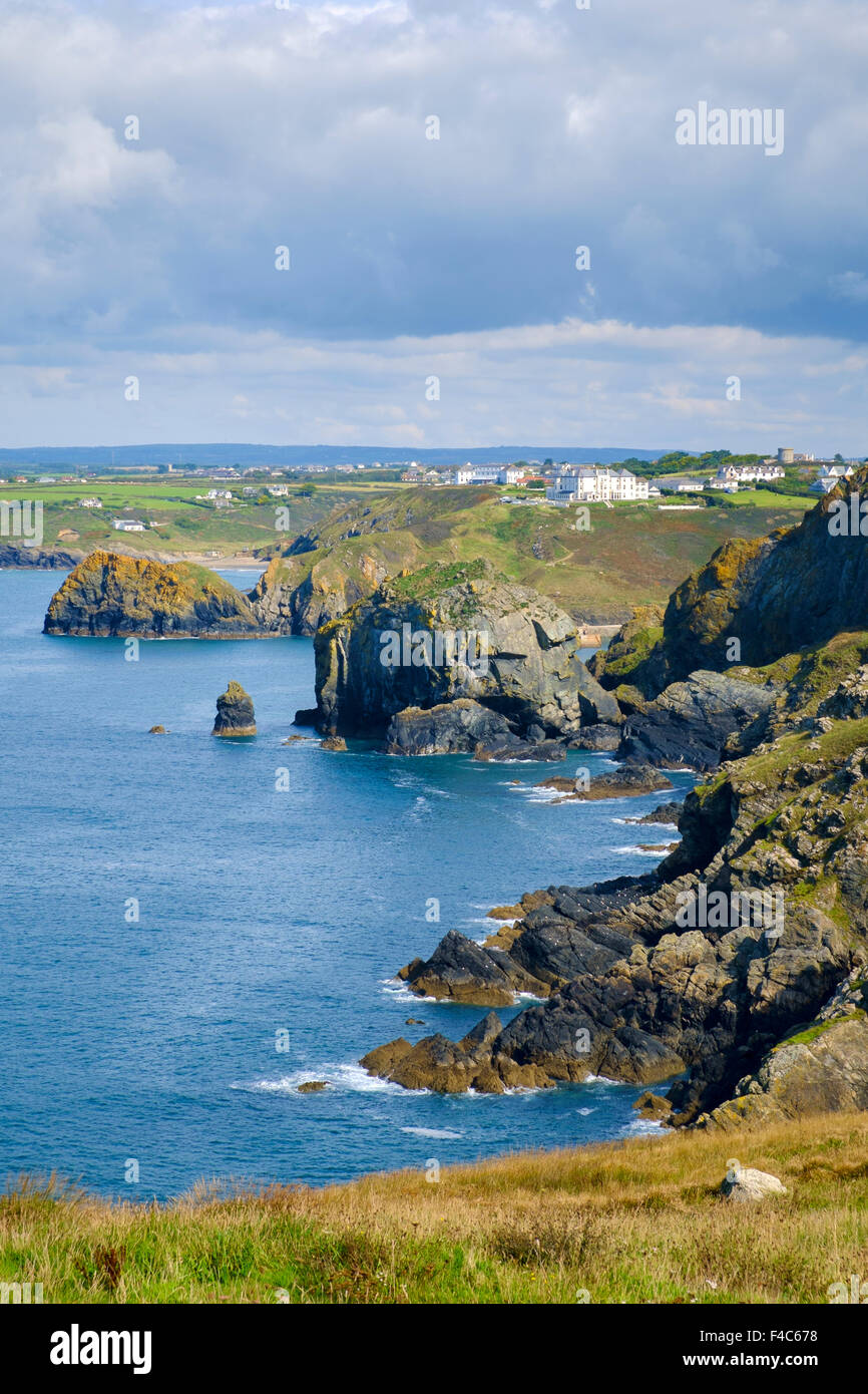 View of Cornwall coast from South West Cornwall Coast Path at Mullion, Lizard Peninsula, England, UK - Stock Image