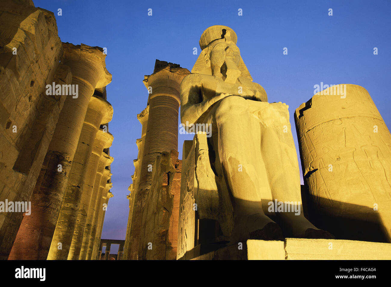 Egypt, Upper Egypt, Luxor, Low angle view of Luxor temple at dusk. (Large format sizes available) - Stock Image
