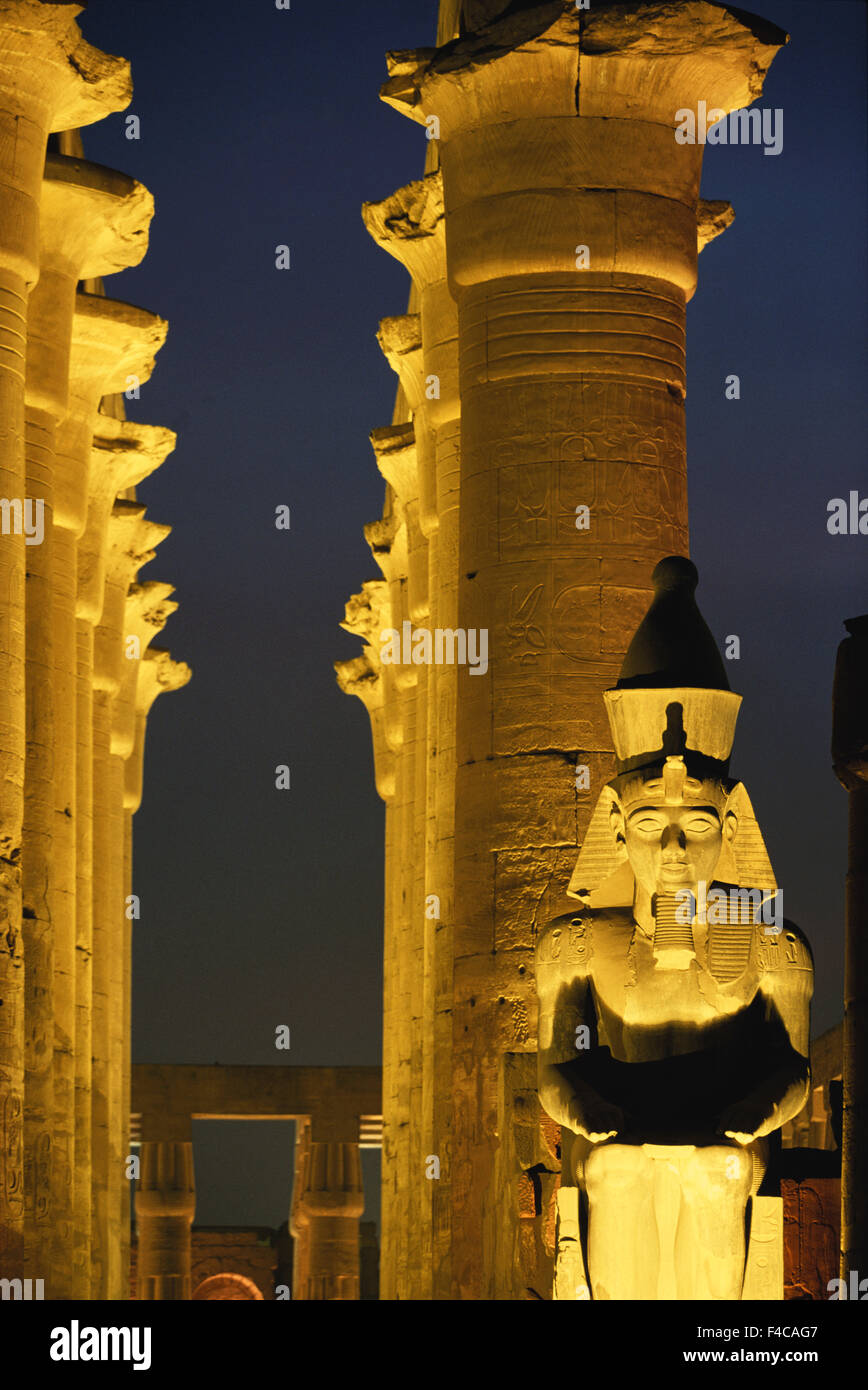 Egypt, Upper Egypt, Luxor. Luxor temple at dusk. (Large format sizes available) - Stock Image